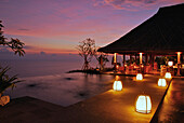 Bar with seaview at sunset, Bulgari Resort, Bukit Badung, Southern Bali, Indonesia, Asia