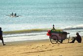 Vendor with hand cart at the beach, Jimbaran, Bali, Indonesia, Asia
