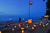 Lanterns at the beach of the Four Seasons Resort, Jimbaran, Soutern Bali, Indonesia, Asia