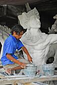 Sculptor at work, Ubud, Bali, Indonesia, Asia