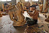 Sculptor at work, Ubud, Bali, Indonesia, Asia