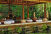 Pavilion at the garden of the Matahari Hotel, Pemuteran, North west Bali, Indonesien, Asia