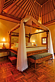 Romantic bedroom at the Matahari Hotel, Pemuteran, North west Bali, Indonesien, Asia