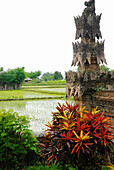 Detail of the Pura Beji Temple in front of rice field, Sangsit, Northern Bali, Indonesia, Asia