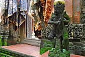 Ikat fabric and stone figure at Bali Aga village, Tenganan, East Bali, Indonesia, Asia