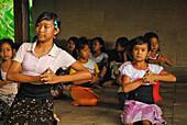 Girls at a dancing class at Amandari Resort, Yeh Agung valley, Bali, Indonesia, Asia