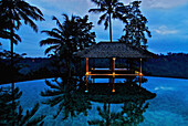 The deserted pool of the Amandari Resort in the evening, Yeh Agung valley, Indonesia, Asia