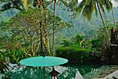 Pool and sunshade at the garden of Amandari Resort, Yeh Agung valley, Bali, Indonesia, Asia