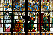 Stained glass window with representation of St. James, Saint Stephen's Cathedral in Bourges, Bourges Cathedral, The Way of St. James, Chemins de Saint Jacques, Via Lemovicensis, Bourges, Dept. Cher, région Centre, France, Europe