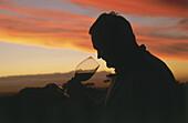 Saxenburg's winemaker Nico van der Merwe at sunset, Stellenbosch, Western Cape, South Africa, Africa