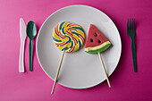 Candies, Candy, Childhood, Close up, Close-up, Closeup, Color, Colored, Colorful, Colors, Colour, Coloured, Colourful, Colours, Concept, Concepts, Cutlery, Dish, Dishes, Fantasy, Food, Foodstuff, Fork, Forks, High above, Indoor, Indoors, Infancy, Interior