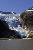 Holgate Glacier near Holgate Arm Bay Kenair Fjords National Park near Seward Alaska AK U S United States Kenai Peninsula Resurrection Bay viewed from Fjord and wildlife tour boat