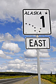 Alaska Highway 1 East sign marker along Glenn Highway Alaska AK U S United States