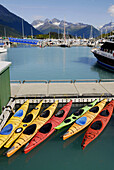 Kayaks in Boat Harbor Port Valdez Prince William Sound Alaska AK United States U S sport activity tourists tourism excursion concession vacation travel exercise