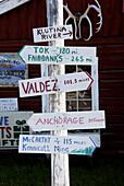 Distance Markers in Copper Center Alaska AK United States U S along Richardson Highway
