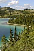Emerald Lake along South Klondike Highway Yukon Territory YT Canada