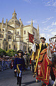 Coronation of Isabella I of Castile in the Cathedral. Middle ages festival in  Segovia, Spain