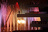 Fireworks. Veles i Vents building, by David Chipperfield, 32nd America's Cup. Valencia Seaport. Spain.