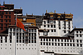Giant fortress in the red mountain (Marpo ri), Potala palace (Budala gong) is the most famous monument in Tibet. Open to the public since the Dalai lama left for exile, it is the symbol of Tibet nation.