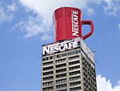 Instant coffee brand ad on the top of a building, Caracas. Venezuela