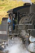 America, Antique, Coal, Color, Colorado, Colour, Durango, Early, Engine, Engineer, Guage, Light, Locomotive, Mining, Morning, Narrow, Rail, Silverton, Steam, Sunrise, Train, United states, Usa, S19-656853, agefotostock