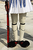 A closed up view of the uniform of the guard for the Tomb of the unknow soldier. Athens. Greece