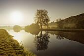 Ruhr river with Blankenstein castle, near Hattingen, Ruhr District, North-Rhine Westphalia, Germany