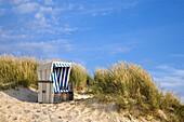 Beach chair in the dunes, Kampen, Sylt Island, Schleswig-Holstein, Germany