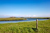 Dwelling mound, Hooge hallig, North Frisian Islands, Schleswig-Holstein, Germany