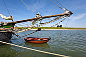 Fishing boat in old harbor, Tammensiel, Pellworm Island, North Frisian Islands, Schleswig-Holstein, Germany