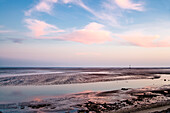 View over tideland in twilight, Pellworm Island, North Frisian Islands, Schleswig-Holstein, Germany