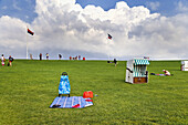 Beach chair on dyke, Nordstrand Island, North Frisian Islands, Schleswig-Holstein, Germany
