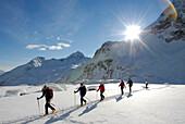 Cross-country skiers in a winter landscape under blue sky, Pflerscher valley, South Tyrol, Italy, Europe