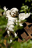 Putto, wooden angel sculpture at a garden fence, South Tyrol, Italy, Europe