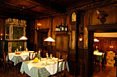 Interior view of the restaurant in the evening, Guesthouse Zur Rose, Kurtatsch, South Tyrol, Italy, Europe