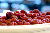 Plate full of fresh raspberries, Fruit dessert, Healthy eating, Food Products, South Tyrol, Italy