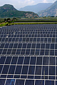 Solar power plant, solar cells of Wuerth Solar, alternative energie, solar energy, environmentally friendly, energy production, Unterland, South Tyrol, Italy