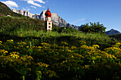 Church of St Oswald with onion dome, St Oswald, Kastelruth, Castelrotto, Schlern, South Tyrol, Italy