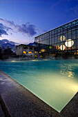 Outdoor pool in Therme Meran, salt water pool and thermal spa, Merano, South Tyrol, Italy