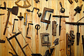 Tools for woodwork, carpenter, Local history museum in Tschoetscherhof, St. Oswald, Kastelruth, Castelrotto, South Tyrol, Italy