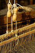 Detail of a weaving loom, Handicraft, Local history museum in Tschoetscherhof, St. Oswald, Kastelruth, Castelrotto, South Tyrol, Italy