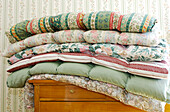 Quilts, bedding in Villa Hermes, Seis am Schlern, South Tyrol, Italy