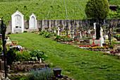 Cemetery with graves, Maria Weissenstein pilgrimage church, Petersberg, Deutschnofen, South Tyrol, Italy