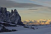 Mountain landscape in Winter, Seiser Alp with Santner summit, Schlern Mountain Range, South Tyrol, Italy