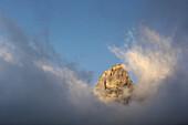 Mountain summit in the morning light, Grohmannspitze, Plattkofel, Dolomites, South Tyrol, Italy