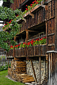 Farmhouse with balcony in the South Tyrolean local history museum at Dietenheim, Puster Valley, South Tyrol, Italy