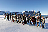 Group photograph, men with skis, Nostalgia, Seiser Alm, Schlern, South Tyrol, Italy