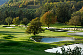 The golf court Kastelruth Alpe di Siusi in autumn, Sciliar, South Tyrol, Italy, Europe