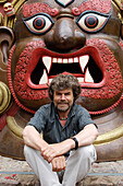 Reinhold Messner sitting in front of a sculpture, Extreme Mountaineer and author, MMM, Messner Mountain Museum, South Tyrol, Italy