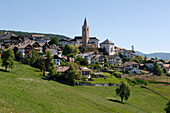 Mountain village with houses and church, Jenesien, South Tyrol, Italy